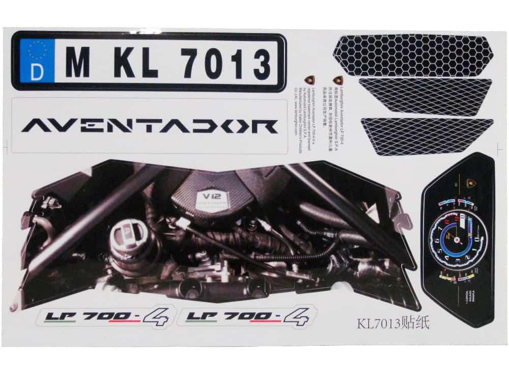 Kalee Lamborghini Aventador LP700-4 12v - Sticker Kit