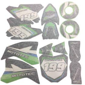 MotoTec 36v Pro Dirt Bike Sticker Kit-Green