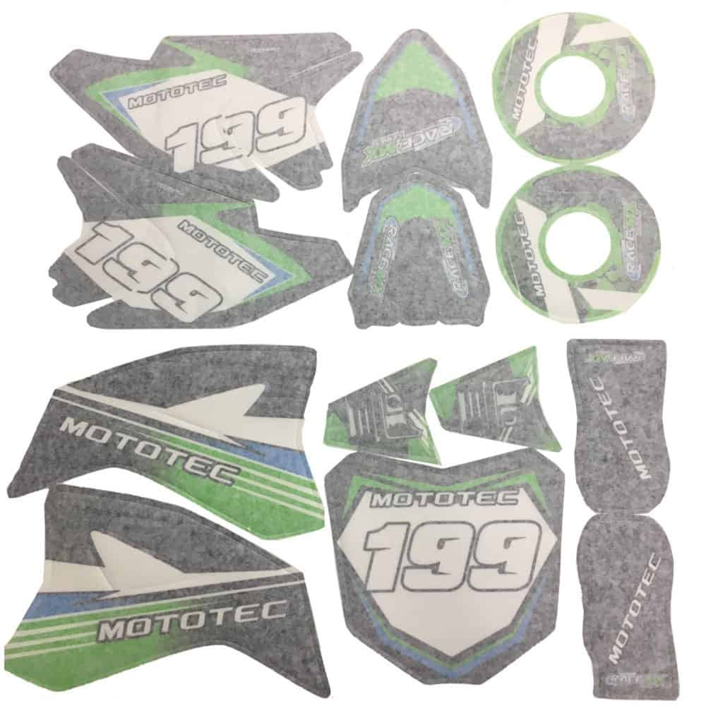 MotoTec 36v Pro Dirt Bike Sticker Kit-Green