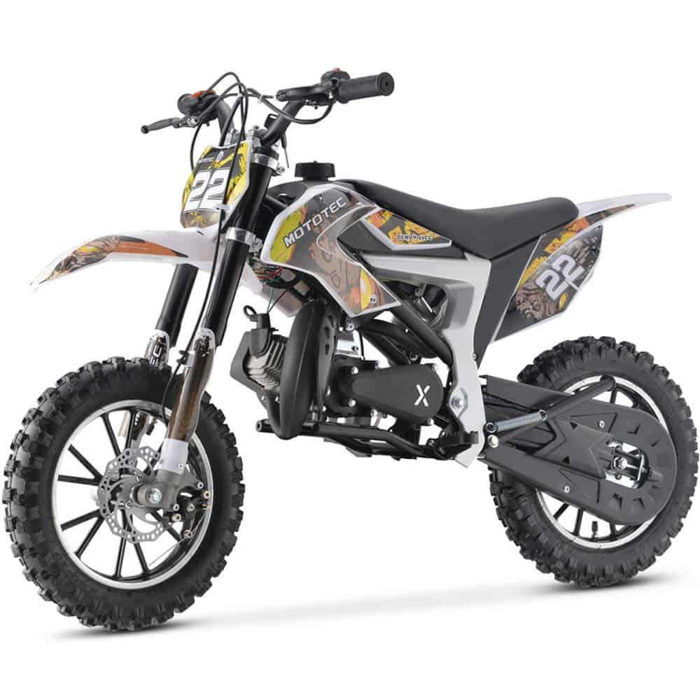 MotoTec 50cc Demon Kids Gas Dirt Bike Yellow