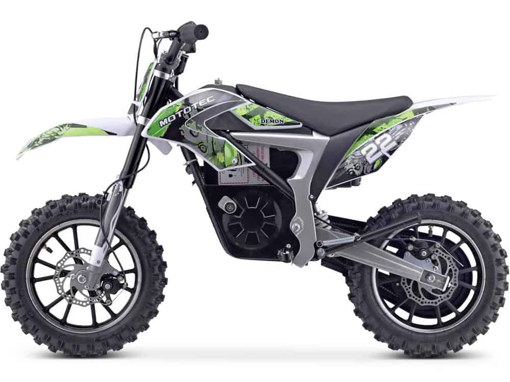 MotoTec 36v 500w Demon Electric Dirt Bike Lithium Green_3
