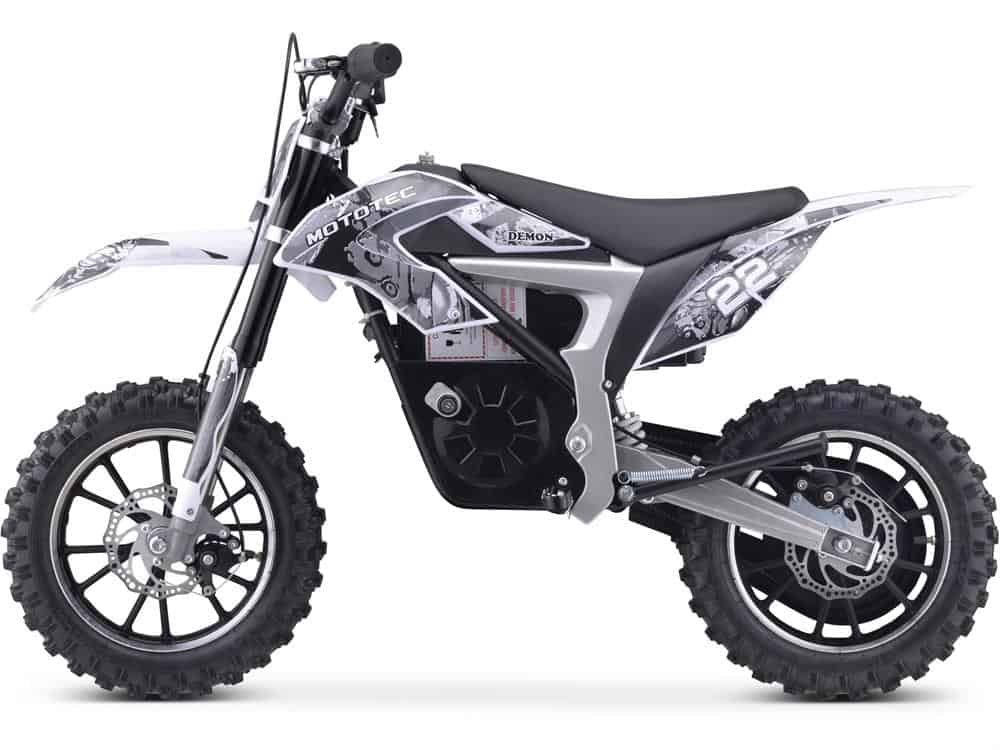 MotoTec 36v 500w Demon Electric Dirt Bike Lithium White_3