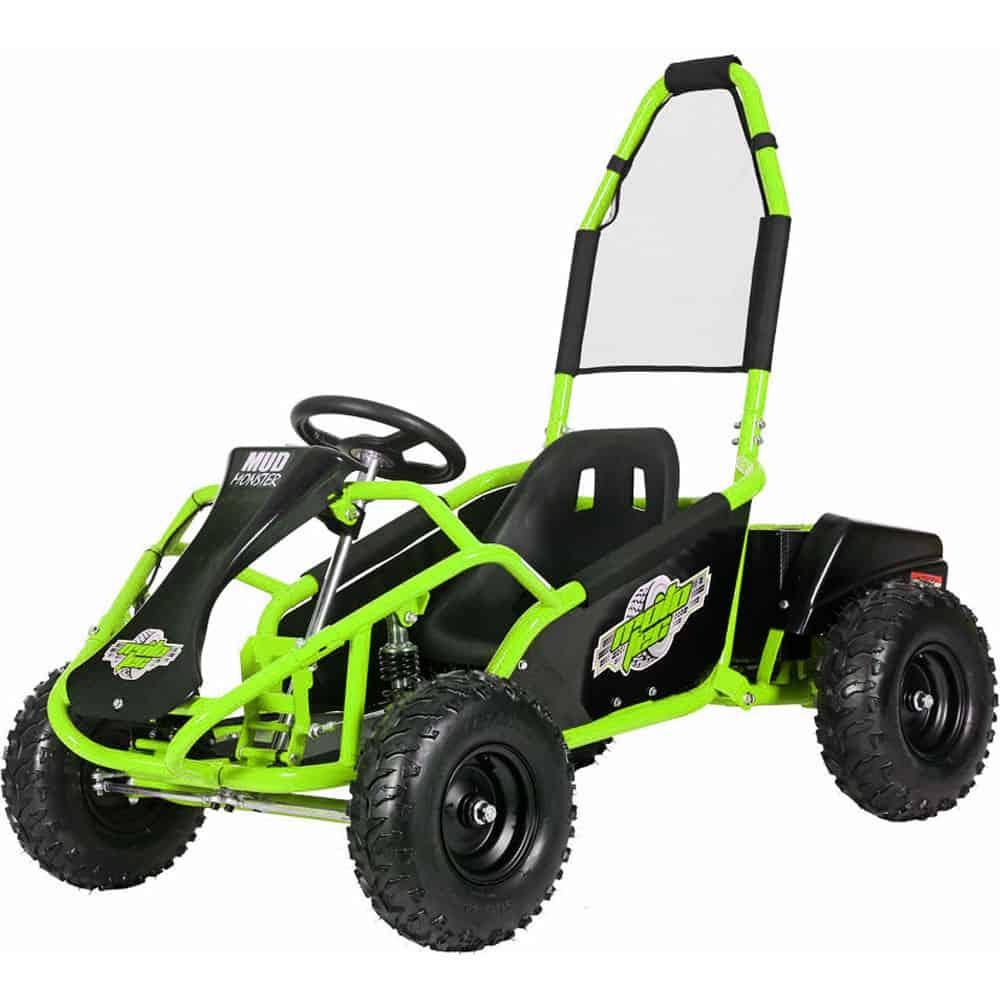 MotoTec Mud Monster Kids Electric 48v 1000w Go Kart Full Suspension Green