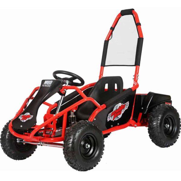MotoTec Mud Monster Kids Electric 48v 1000w Go Kart Full Suspension Red