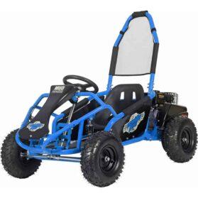 MotoTec Mud Monster Kids Gas Powered 98cc Go Kart Full Suspension Blue