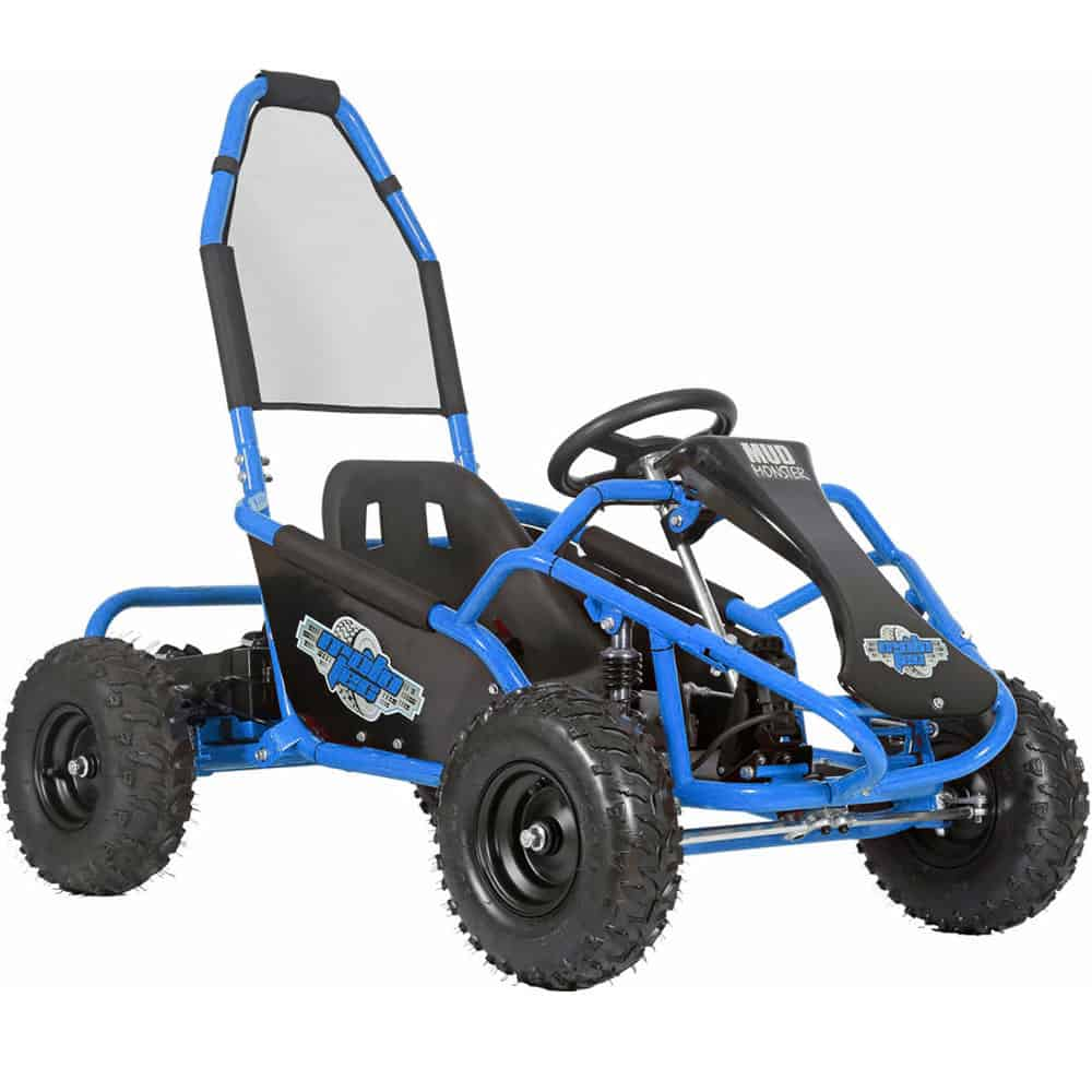 MotoTec Mud Monster Kids Gas Powered 98cc Go Kart Full Suspension Blue_2
