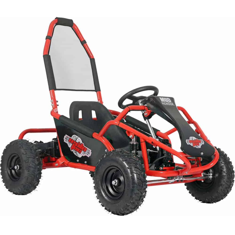 MotoTec Mud Monster Kids Gas Powered 98cc Go Kart Full Suspension Red_2