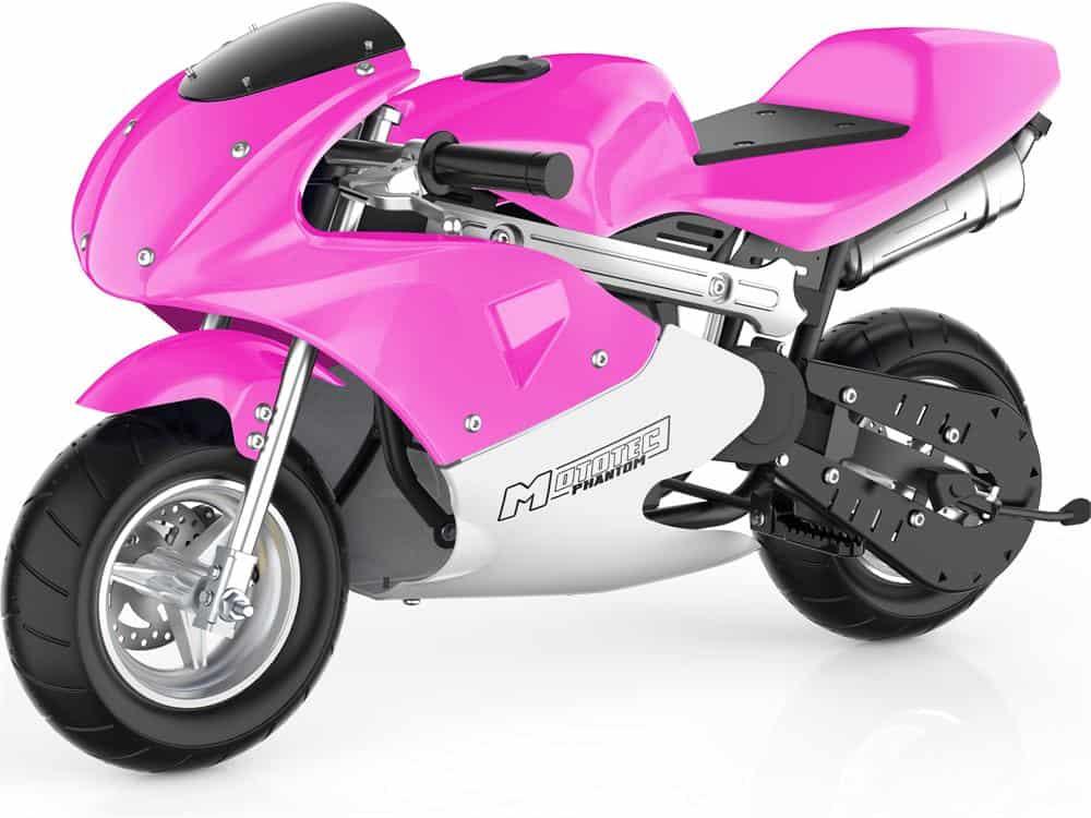 MotoTec Phantom Gas Pocket Bike 49cc 2-Stroke Pink_2
