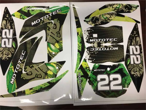 MotoTec 50cc Demon Green Sticker Kit