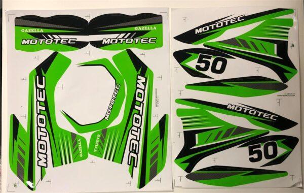MotoTec Dirt Bike Gazzela Sticker Kit Green