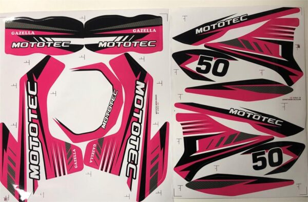MotoTec Dirt Bike Gazzela Sticker Kit Pink