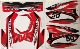 MotoTec Dirt Bike Gazzela Sticker Kit Red